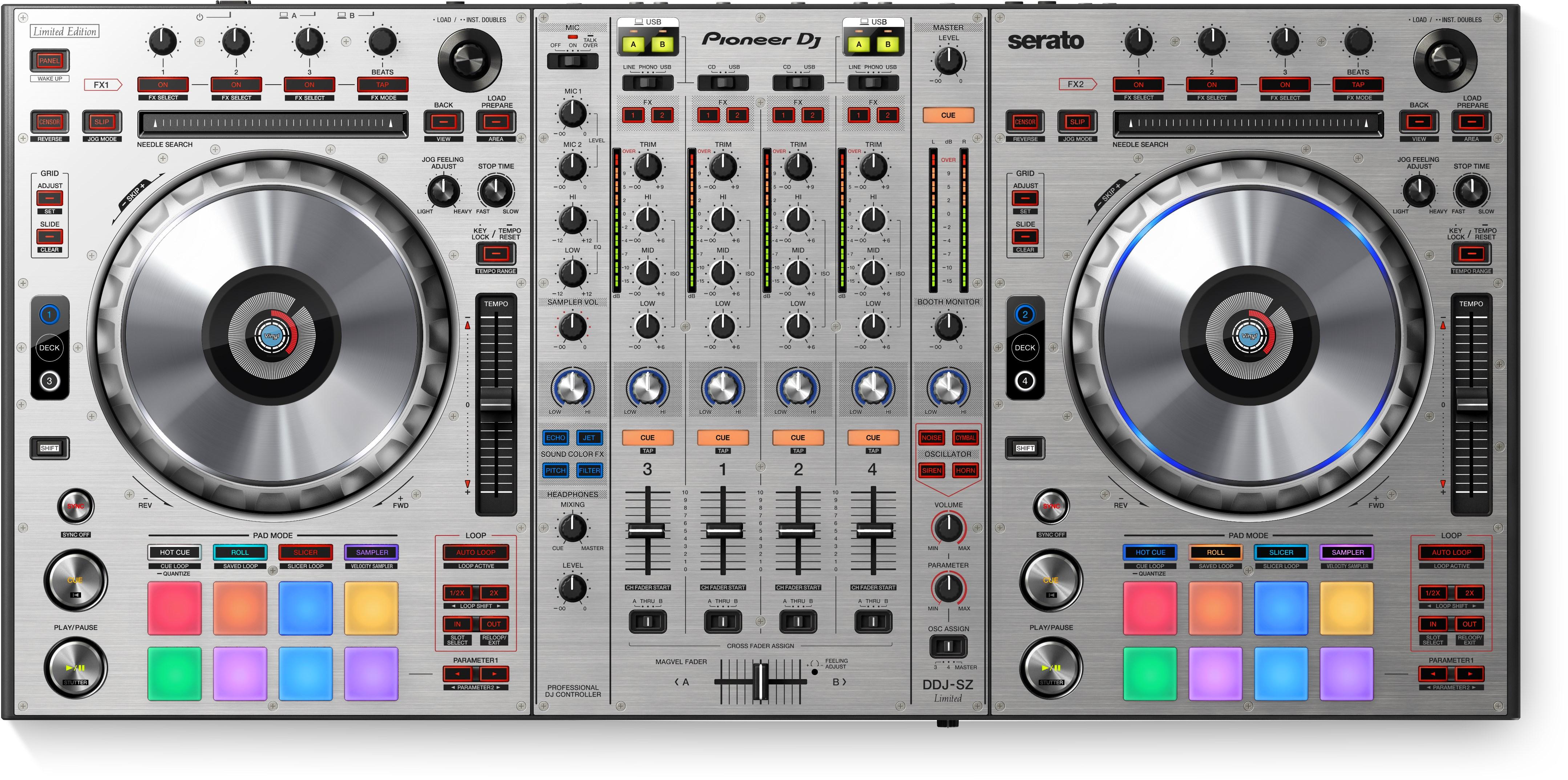 Pioneer DDJ-SZ 4 Channel DJ Controller For Serato DJ - Silver - Long