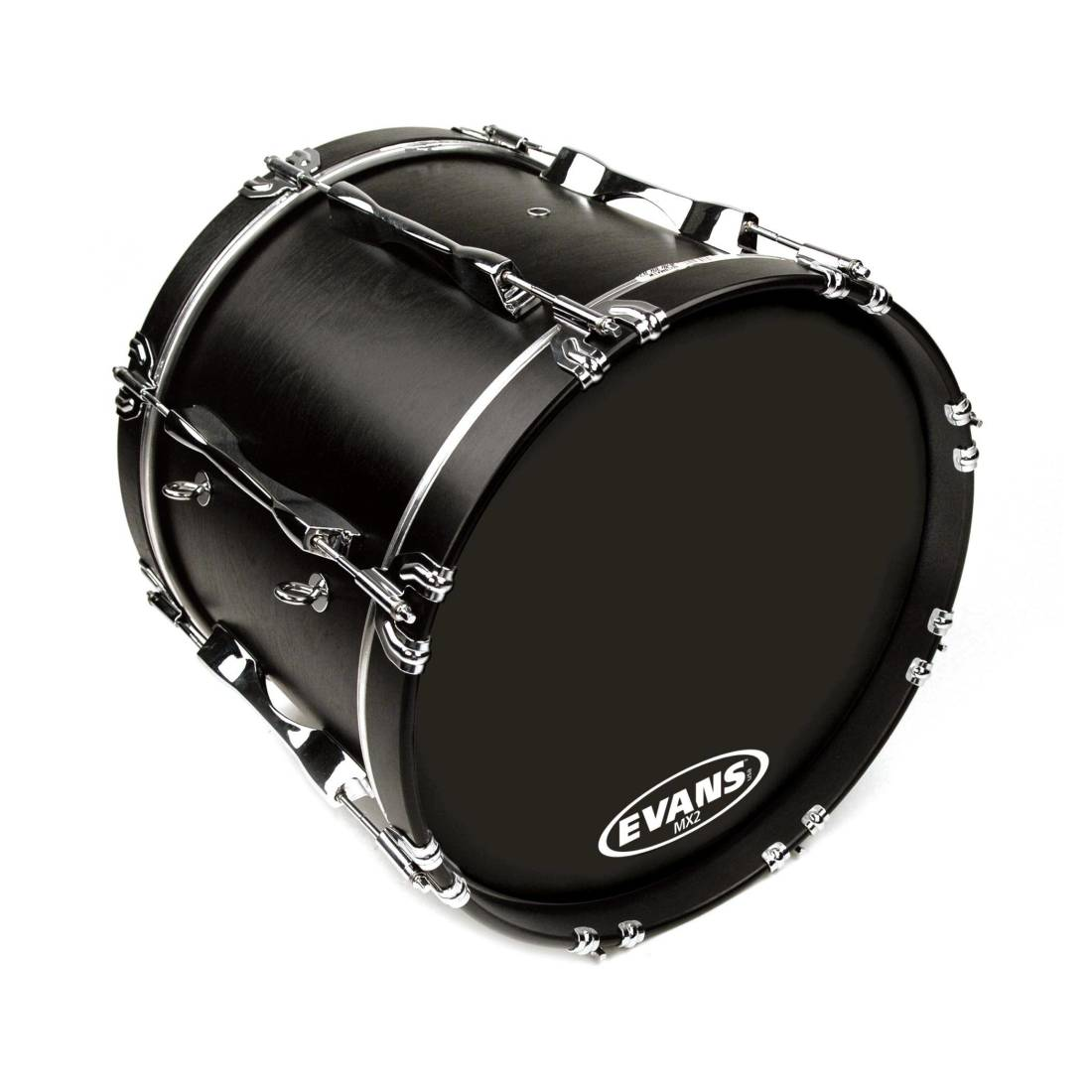 evans mx2 black marching bass drum head 18 inch long mcquade musical instruments. Black Bedroom Furniture Sets. Home Design Ideas