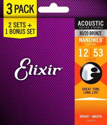 80/20 Bronze Acoustic Guitar Strings w/NANOWEB Coating, Light 12-53, 3 for 2 Pack