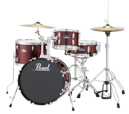 Roadshow Drum Kit w/18,10,14, Snare Drum, Hardware & Cymbals - Wine Red