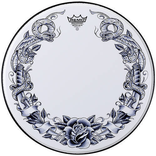 Tattoo 14 Inch Snare - Serpent Rose (White)