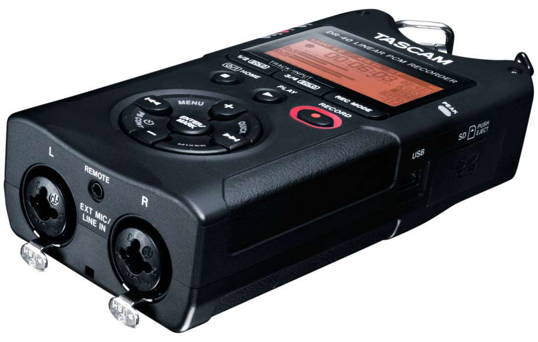 tascam dr 40 4 track compact digital recorder with xlr inputs long mcquade musical instruments. Black Bedroom Furniture Sets. Home Design Ideas