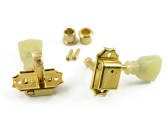 Kluson - 3+3 Single Ring Line Gold Tuners w/Keystone Buttons