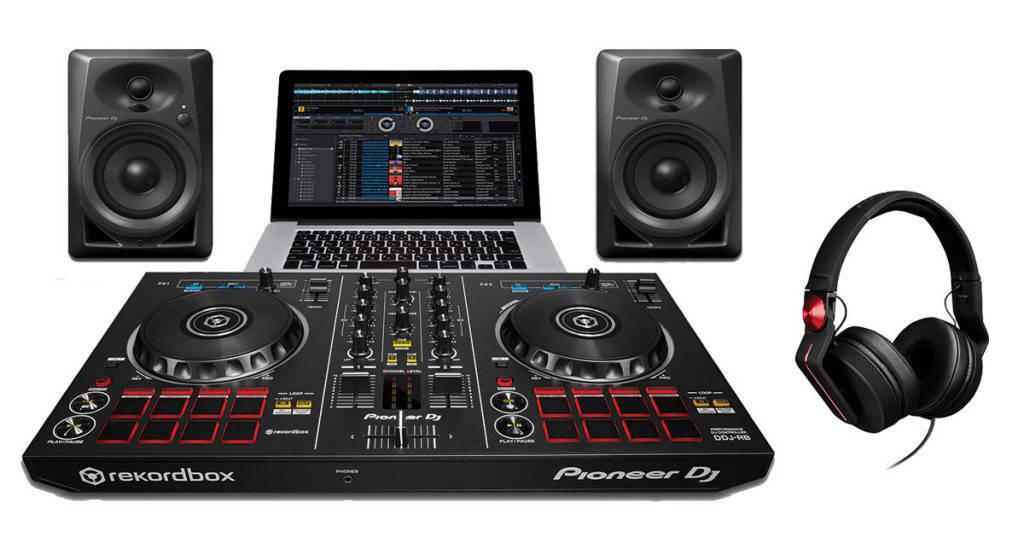 pioneer dj starter pack with ddj rb controller dm 40 speakers hdj 700 r headphones long. Black Bedroom Furniture Sets. Home Design Ideas