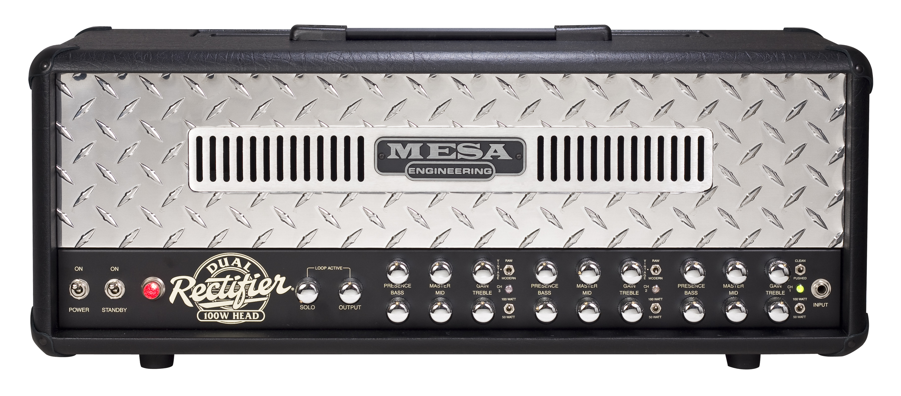 Mesa Boogie Dual Rec 100 Head 3 Channel With Diamond Plate Long