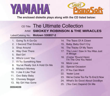 Smokey Robinson & The Miracles: The Ultimate Collection (Yamaha Smart PianoSoft) - Electronic Keyboard - Disk