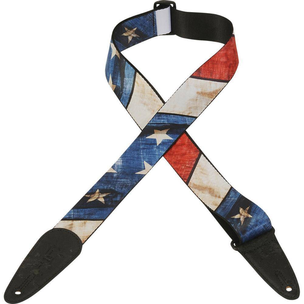 levy 39 s 2 inch polyester guitar strap w distressed us flag design long mcquade musical. Black Bedroom Furniture Sets. Home Design Ideas