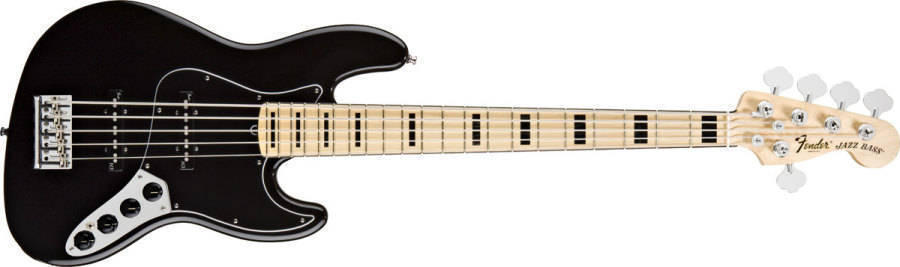 fender american deluxe 5 string jazz bass maple neck in black long mcquade musical instruments. Black Bedroom Furniture Sets. Home Design Ideas