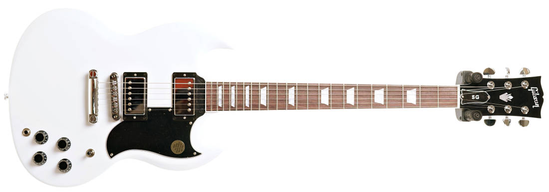 white gibson sg guitar