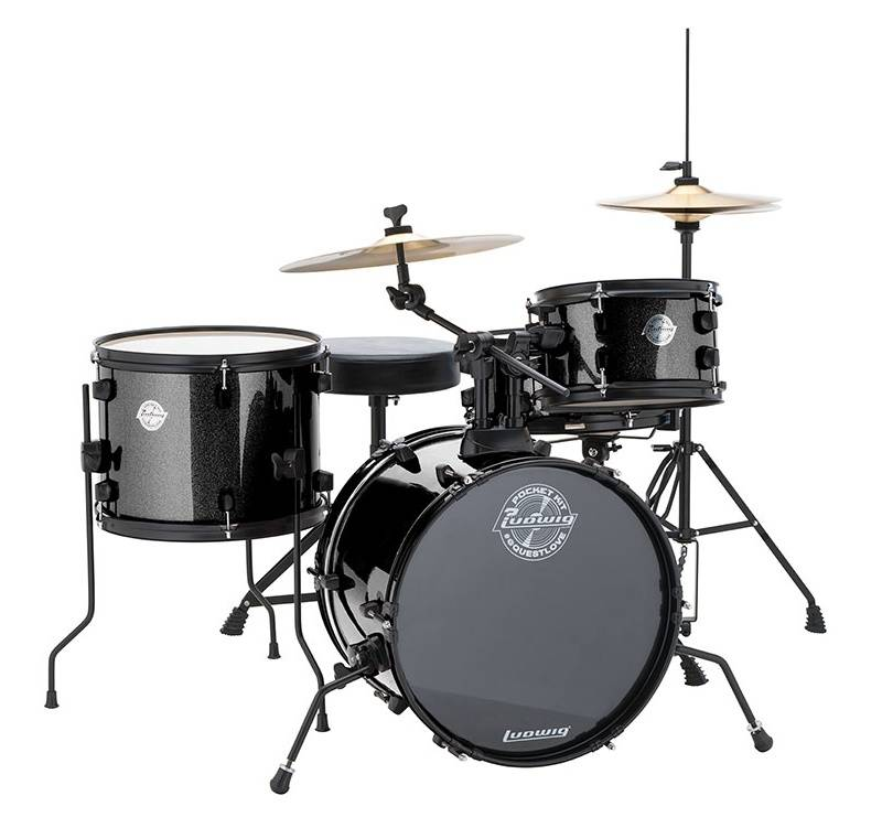 ludwig drums pocket kit complete beginner drum kit black sparkle long mcquade musical. Black Bedroom Furniture Sets. Home Design Ideas