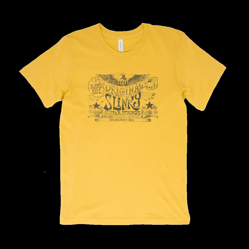 8932d4686739f Ernie Ball Original Slinky Maize Yellow T-Shirt - Large - Long   McQuade  Musical Instruments
