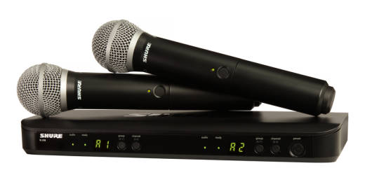 Dual-Transmitter Handheld Wireless System with with 2 PG58 Mics