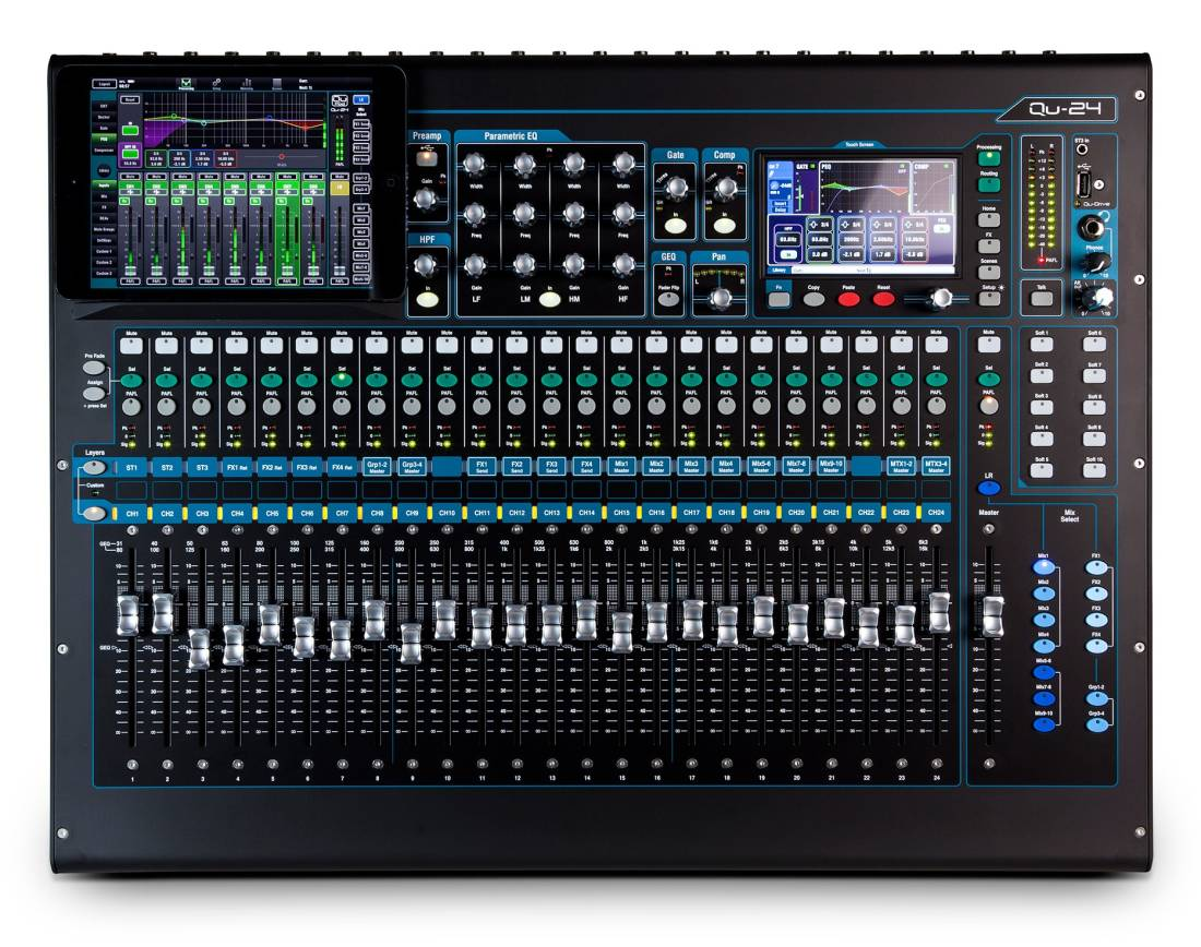 allen heath qu 24 30 in 24 out digital mixing console long mcquade musical instruments. Black Bedroom Furniture Sets. Home Design Ideas