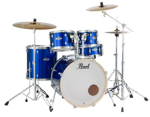 Export EXX 5 Piece Drum Kit w/Cymbals, Hardware and Throne - High Voltage Blue