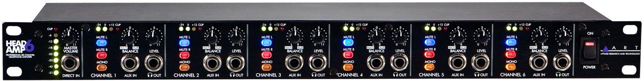 ART HeadAmp6 Rackmount 6 Channel Stereo Headphone Amplifier
