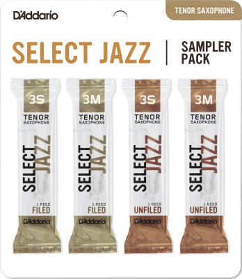 Select Jazz Reed Sampler Pack - Tenor Saxophone 3S/3M - 4 Pack