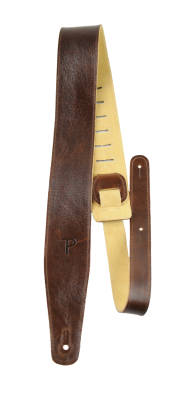2.5'' Top Grain Italian Leather Guitar Strap - Dark Brown