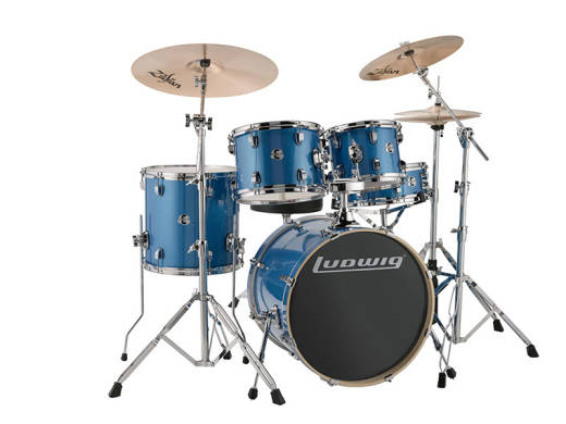 Evolution 5-Piece Drum Kit w/Hardware, Cymbals and Throne - Blue Sparkle