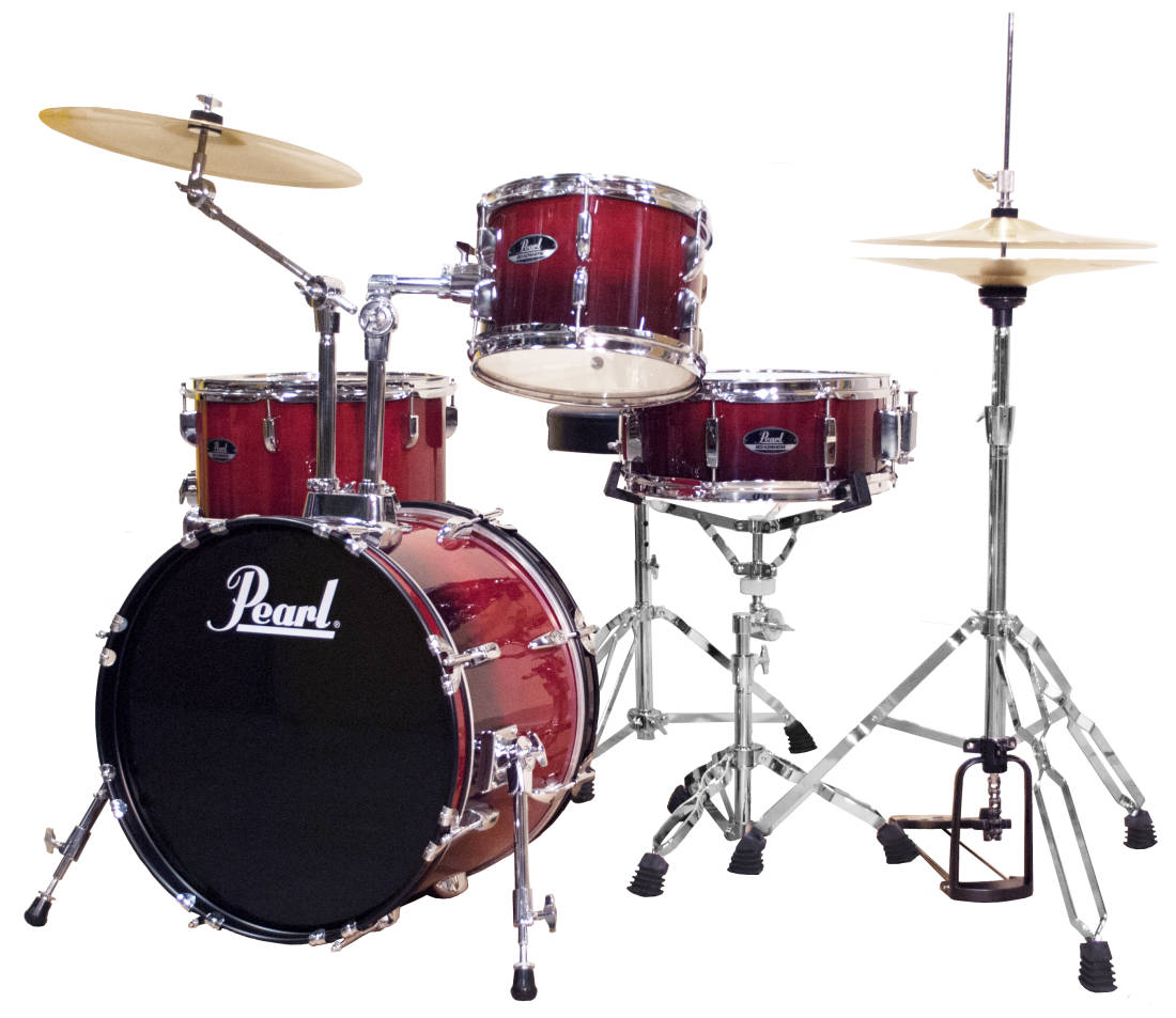 pearl roadshow 4 piece drum kit 18 10 14 snare cherry red long mcquade musical instruments. Black Bedroom Furniture Sets. Home Design Ideas