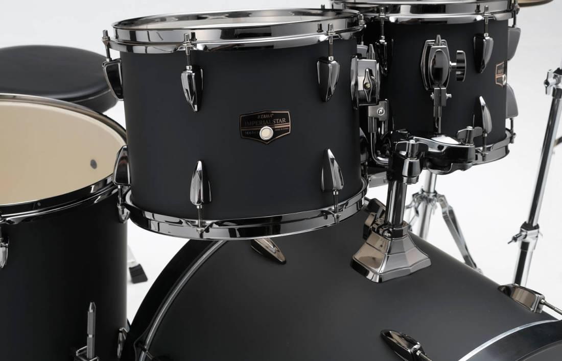 tama imperialstar 6 piece complete drum set 22 10 12 14 16 snare blacked out black long. Black Bedroom Furniture Sets. Home Design Ideas