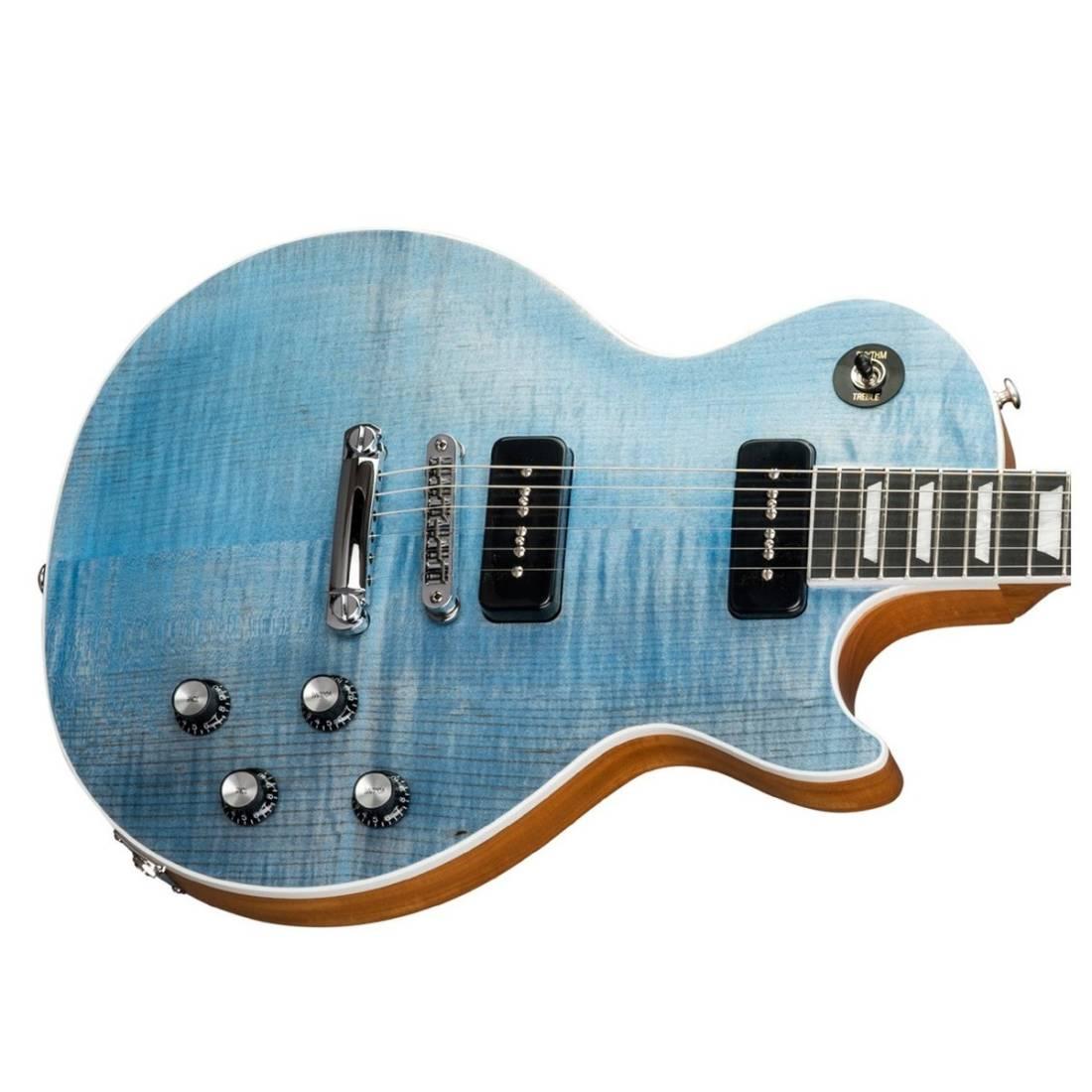 Gibson 2018 Les Paul Classic Player Plus Ocean Blue Long Electric Guitar Trans Ebony The Music