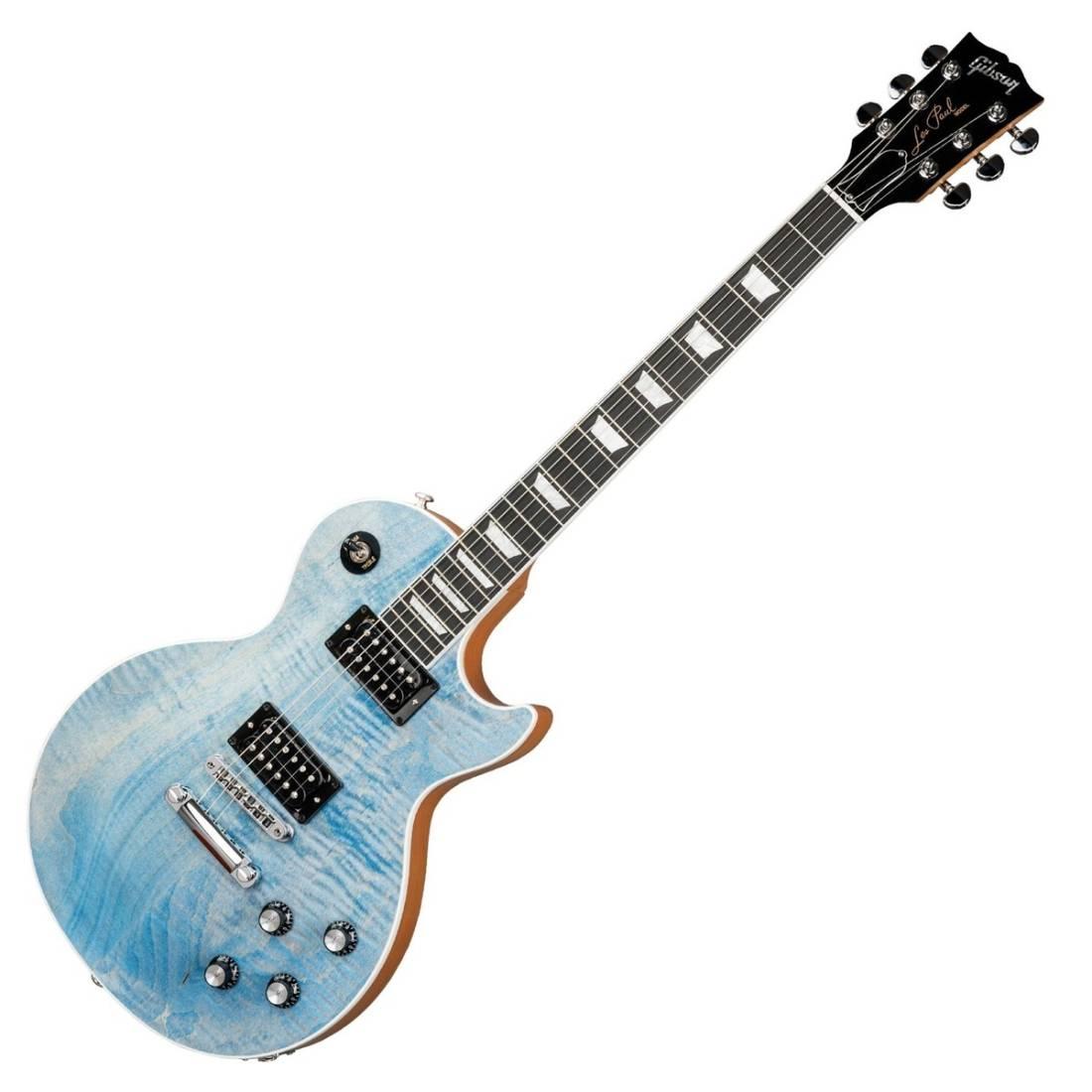 gibson 2018 les paul signature player plus satin ocean blue long mcquade musical instruments. Black Bedroom Furniture Sets. Home Design Ideas
