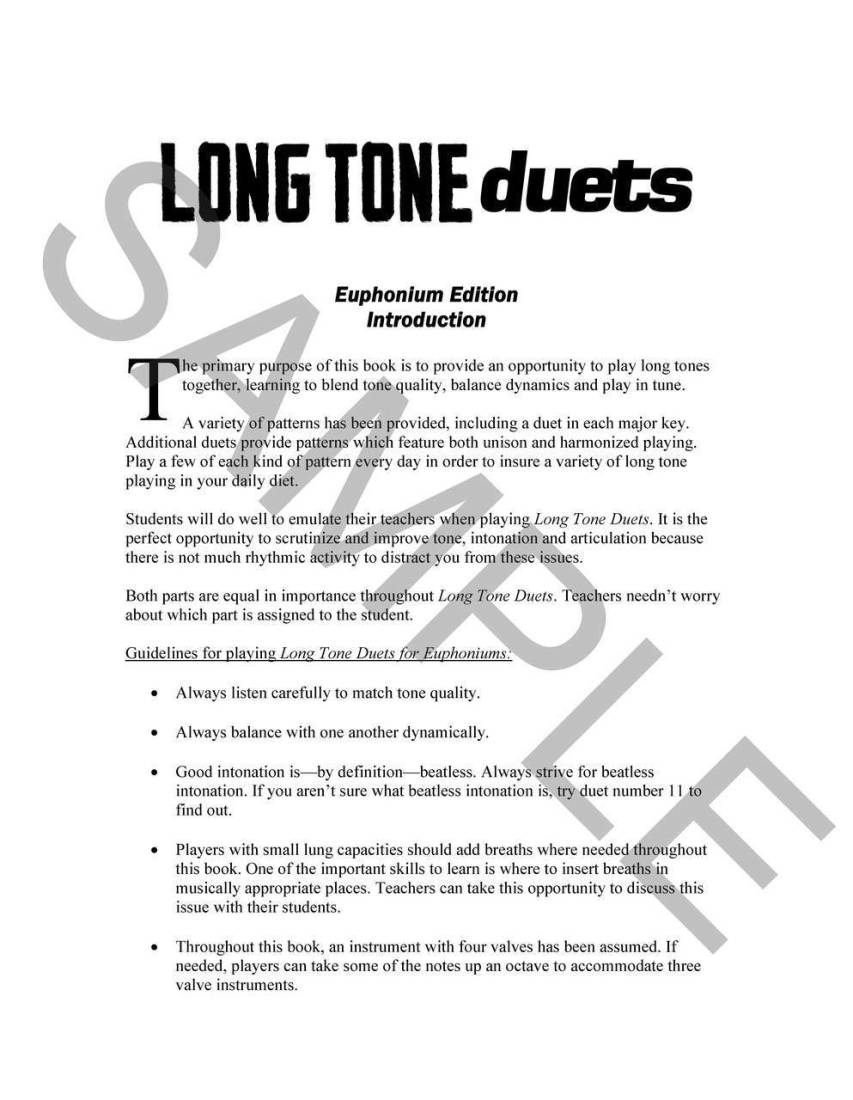 mountain peak music long tone duets for euphoniums (tc) - vining