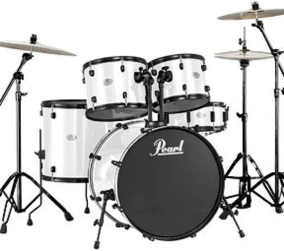 pearl fzh 5 piece drum kit with cymbals hardware white long mcquade musical instruments. Black Bedroom Furniture Sets. Home Design Ideas