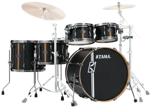 Hyper-Drive Duo 5-Piece Shell Pack (10,12,16,22,Snare) - Flat Black Vertical Stripe