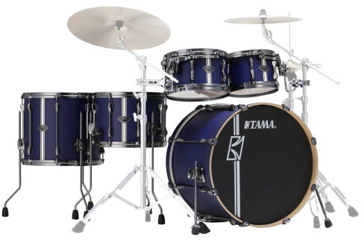 Hyper-Drive Duo 5-Piece Shell Pack (10,12,16,22,Snare) - Satin Blue Vertical Stripe