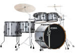 Tama - Hyper-Drive Duo 5-Piece Shell Pack (10,12,16,22,Snare) - Satin Silver Vertical Stripe