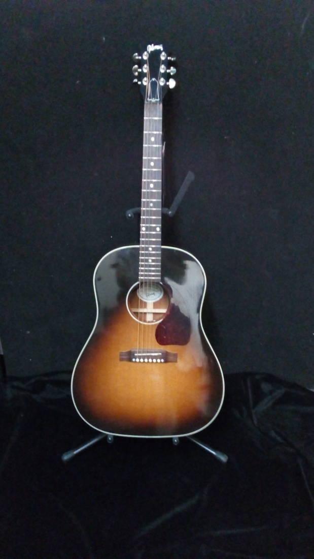 gibson j 45 standard acoustic guitar vintage sunburst long mcquade musical instruments. Black Bedroom Furniture Sets. Home Design Ideas