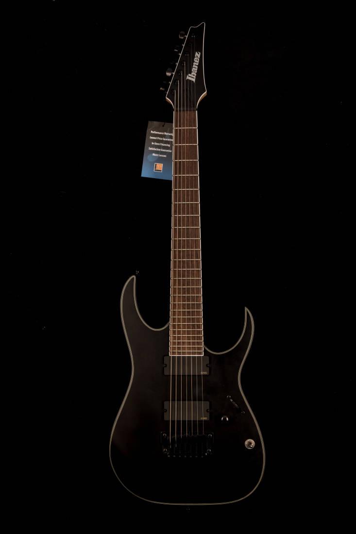 ibanez rg iron label 7 string electric guitar black flat long mcquade musical instruments. Black Bedroom Furniture Sets. Home Design Ideas