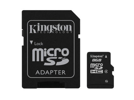 Kingston 8 GB Class 4 MicroSDHC Flash Card with SD Adapter