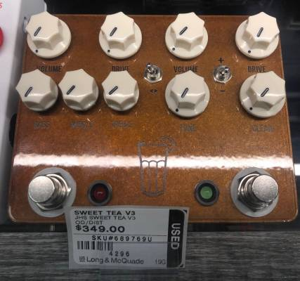 Store Special Product - JHS Sweet Tea V3 Overdrive/Distortion Pedal