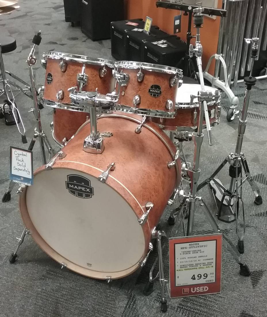 Storm 5pc Drum Kit 10,12,16,22,Snare w/Hardware - Woodgrain