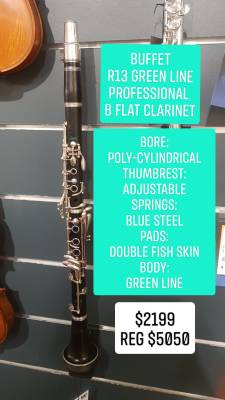 Buffet R13 Green LinE Professional Bb Clarinet with Nickel Plated Keys