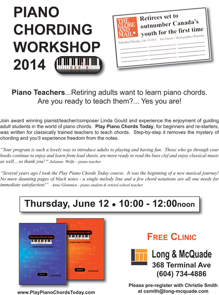 Attention Piano Teachers Piano Chording Workshop Vancouver Bc