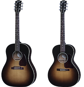 Gibson J-45 and L-00 acoustic guitars.